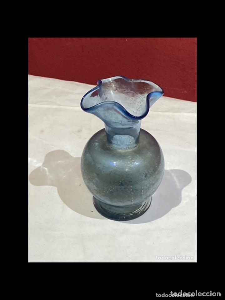 Antigüedades: Antiguo jarron cristal soplado,español siglo XX,pintados a mano con oro.ver las medidas en fotos - Foto 2 - 254755185