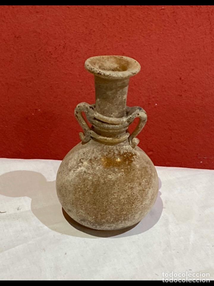 JARRON PEQUEÑO EMPOLVADO DE BLANCO (Antigüedades - Cristal y Vidrio - Otros)