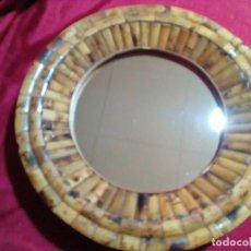 Antigüedades: ESPEJO DE BAMBU Y MADERA. Lote 254758830