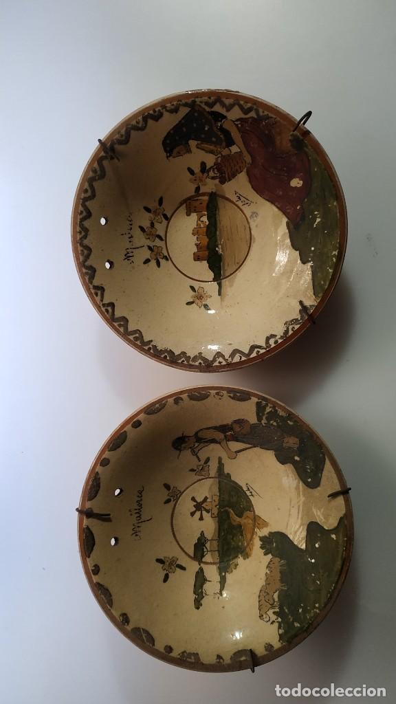 DOS ANTIGUOS PLATOS DE CERAMICA DE MALLORCA (Antigüedades - Porcelanas y Cerámicas - Catalana)