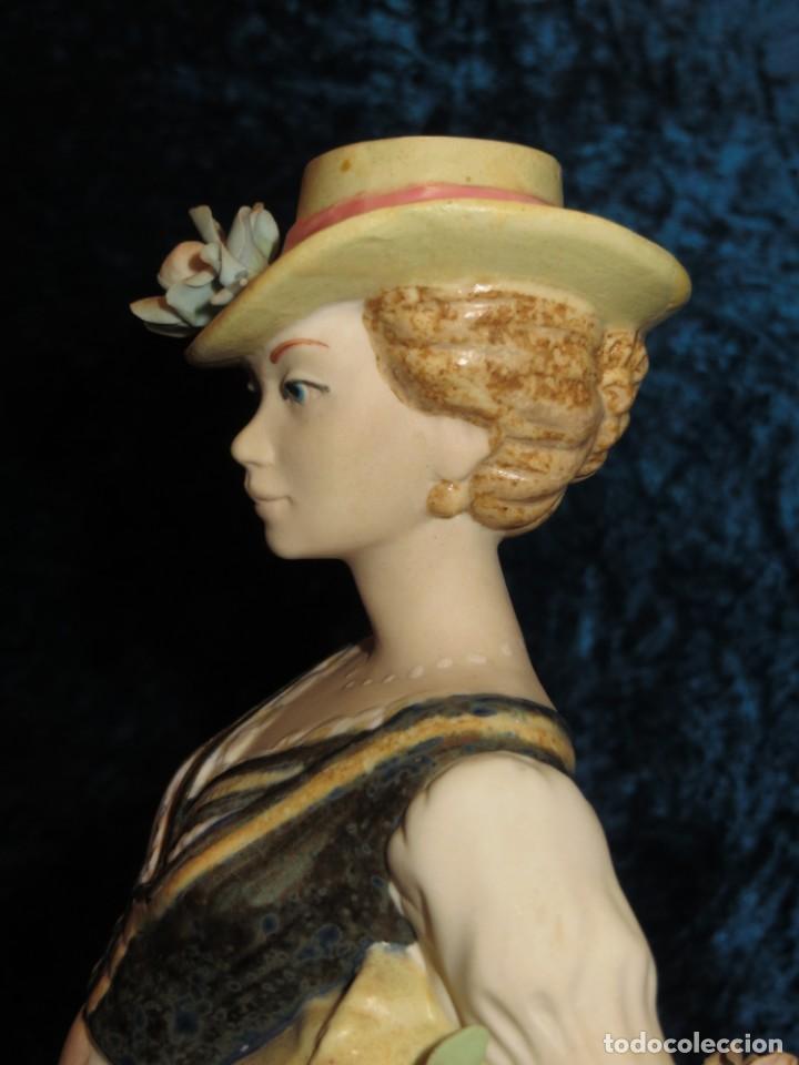Antigüedades: Antigua figura cerámica Porcelana Artística Levantina mujer flores querubines 35 cm sello circa 1980 - Foto 16 - 254825780