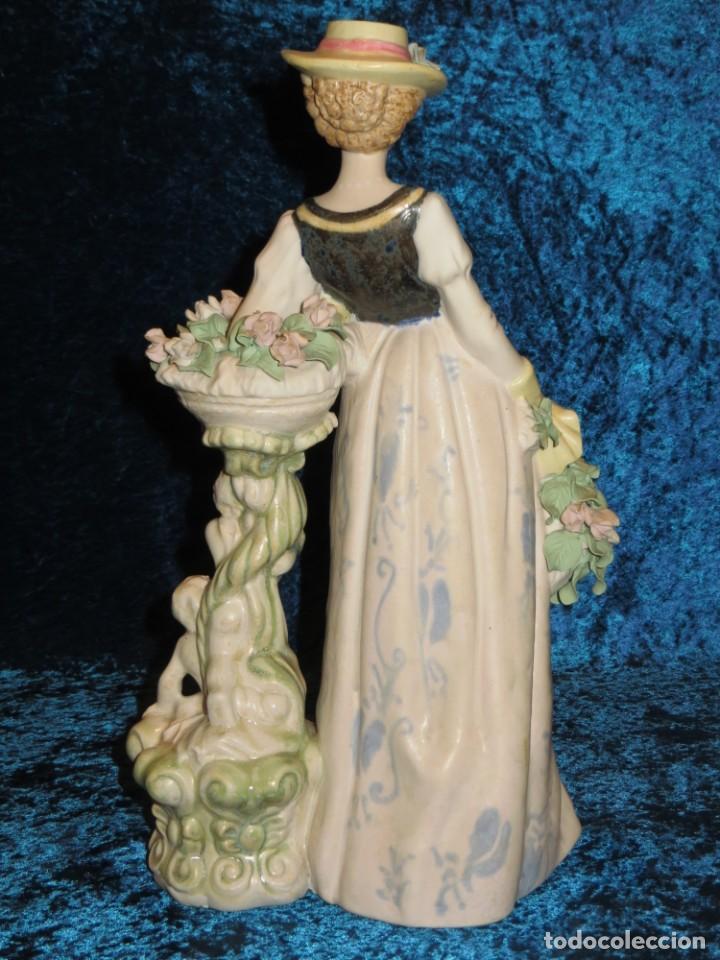 Antigüedades: Antigua figura cerámica Porcelana Artística Levantina mujer flores querubines 35 cm sello circa 1980 - Foto 25 - 254825780