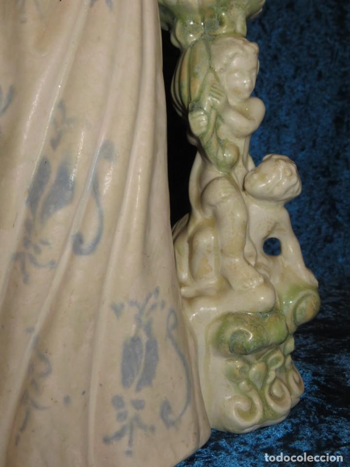 Antigüedades: Antigua figura cerámica Porcelana Artística Levantina mujer flores querubines 35 cm sello circa 1980 - Foto 39 - 254825780