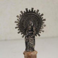 Antigüedades: VIRGEN DEL PILAR PLATEADA Y FIRMADA. Lote 254864910