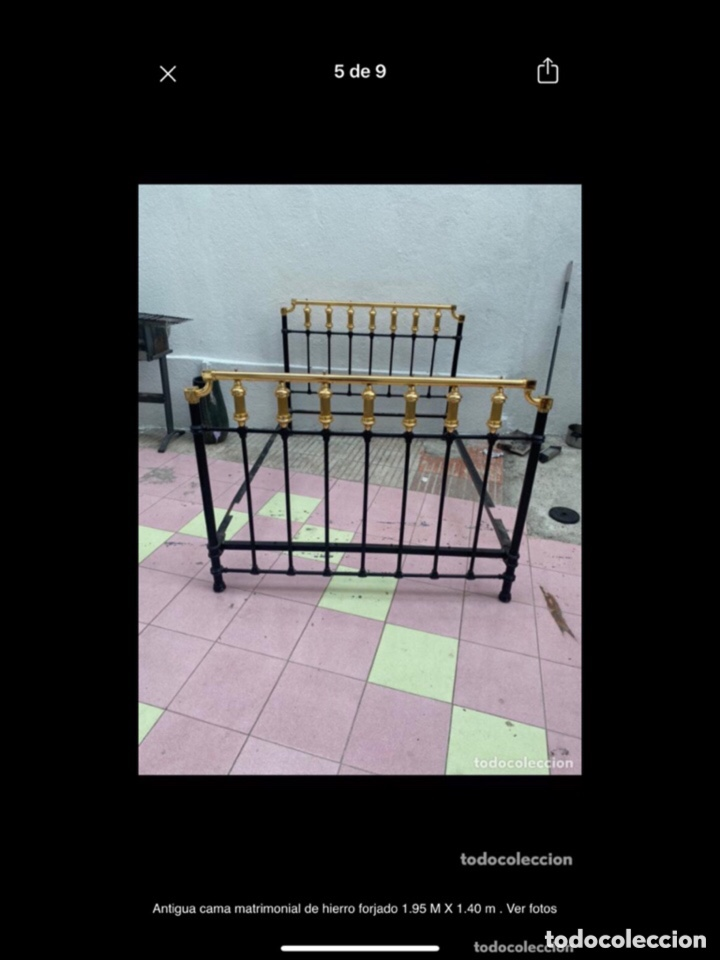 Antigüedades: Antigua cama matrimonial de hierro forjado 1.95 M X 1.40 m . Ver fotos - Foto 2 - 254879725