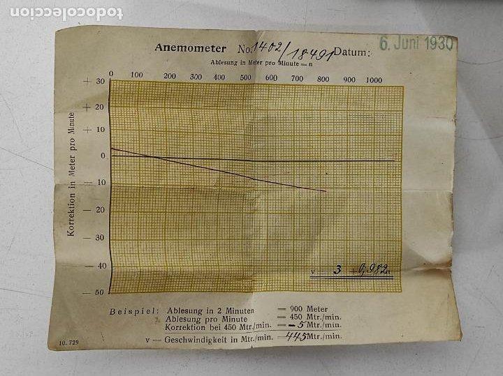 Antigüedades: Antiguo Anemómetro Wilh Lambrecht A.G Göttingen - con Caja - Data 6 Junio 1930 - Foto 6 - 254896250