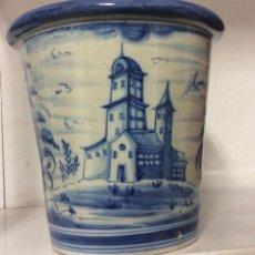 Antiquités: ANTIGUO MACETERO EN CERÁMICA DE LUNA-TALAVERA. Lote 254910730