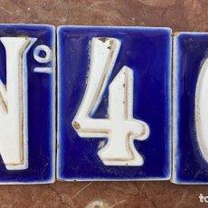 Antigüedades: AZULEJOS ANTIGUOS ESMALTADOS NUMERO 40 TAMBIEN PODRÍA VALER COMO NUMERO 4 MIDEN 10 X 7,2 CMS.. Lote 254915335