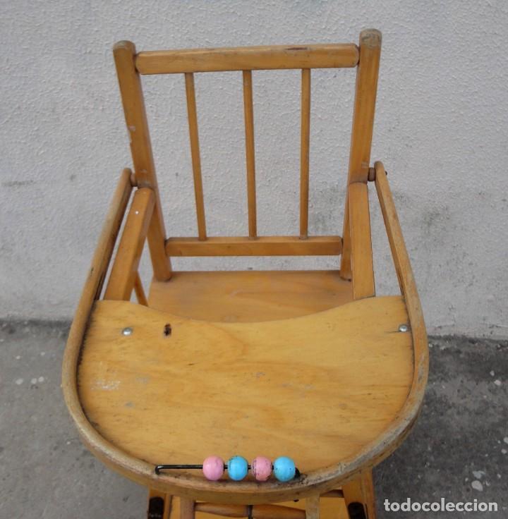 Antigüedades: Trona de niño o bebe, convertible en taca-taca con ruedas - Foto 4 - 254923690