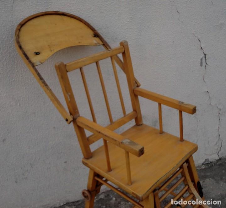 Antigüedades: Trona de niño o bebe, convertible en taca-taca con ruedas - Foto 10 - 254923690