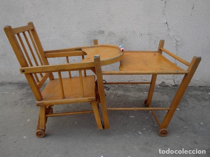 Antigüedades: Trona de niño o bebe, convertible en taca-taca con ruedas - Foto 11 - 254923690
