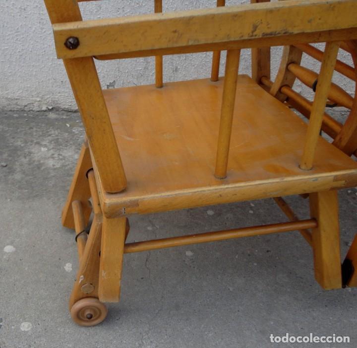 Antigüedades: Trona de niño o bebe, convertible en taca-taca con ruedas - Foto 12 - 254923690