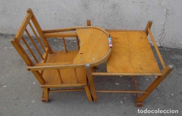 Antigüedades: Trona de niño o bebe, convertible en taca-taca con ruedas - Foto 13 - 254923690