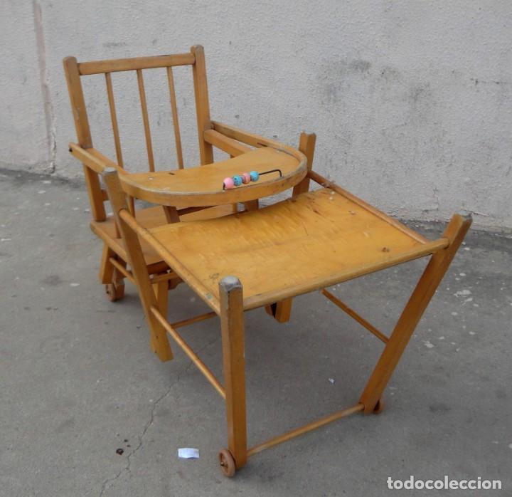 Antigüedades: Trona de niño o bebe, convertible en taca-taca con ruedas - Foto 14 - 254923690