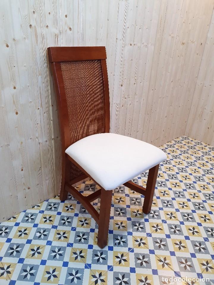 Antigüedades: JUEGO DE 6 SILLAS CON RESPALDO DE BAMBU - Foto 3 - 254952265