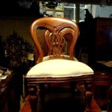 Antigüedades: PAREJA DE SILLAS INGLESAS EN MADERA DE CAOBA MODELO VIOLIN. Lote 254954400