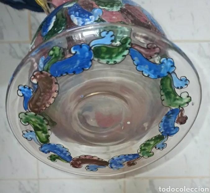 Antigüedades: Jarrón cantaro centro de mesa Genís Cirera Cristal Catalán esmaltado Siglo XIX - Foto 5 - 254955265