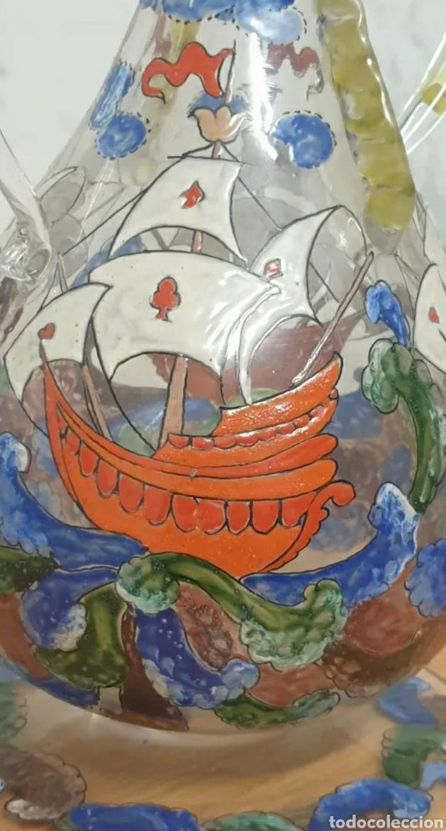 Antigüedades: Jarrón cantaro centro de mesa Genís Cirera Cristal Catalán esmaltado Siglo XIX - Foto 6 - 254955265