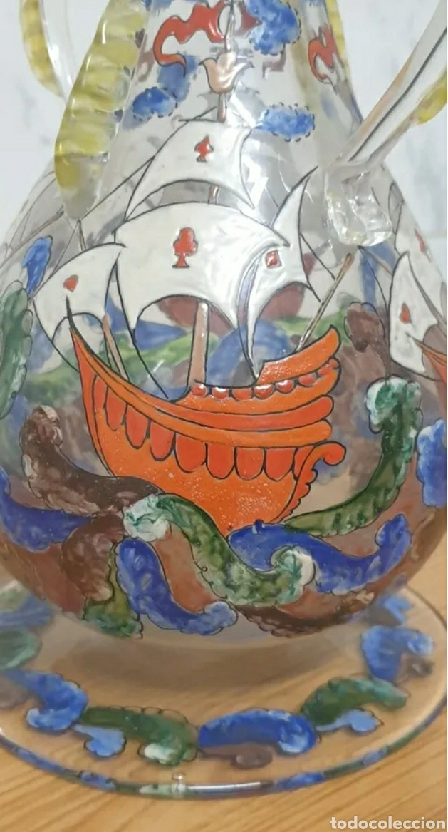 Antigüedades: Jarrón cantaro centro de mesa Genís Cirera Cristal Catalán esmaltado Siglo XIX - Foto 7 - 254955265