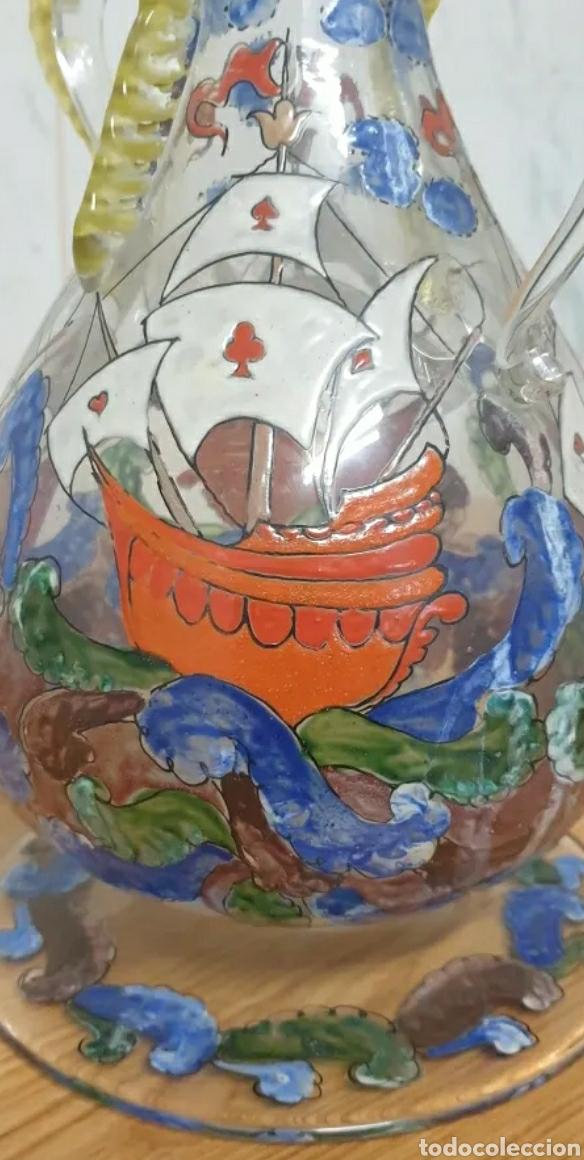 Antigüedades: Jarrón cantaro centro de mesa Genís Cirera Cristal Catalán esmaltado Siglo XIX - Foto 9 - 254955265