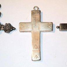 Antigüedades: 3 CRUCES RELICARIO. ENCOLPION. PLATA CINCELADA. EUROPA. SIGLO XVIII-XIX. Lote 254956850