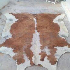Antigüedades: ANTIGUA ALFOMBRA PIEL DE BUEY GALLEGO INTERA 240/250 CM. Lote 255001570