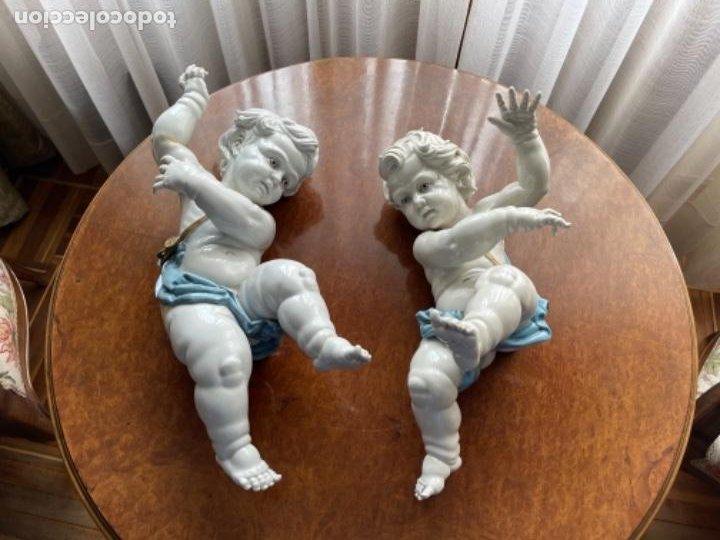 Antigüedades: DOS ANGELOTES DE PORCELANA ALGORA CALZÓN AZUL MIRA FOTOS Y DESCRIPCIÓN - Foto 17 - 255010315