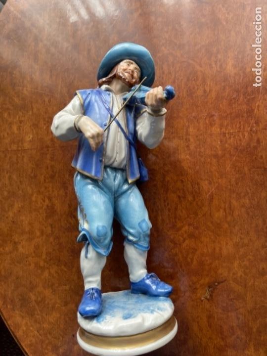 Antigüedades: DOS FIGURAS ALGORA MUSICOS SXIX EN AZUL BUEN ESTADO - Foto 8 - 255010670