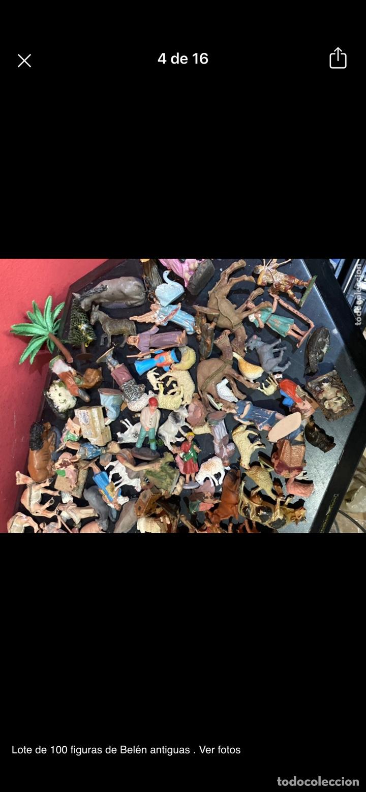Antigüedades: Lote de 100 figuras de Belén antiguas . Ver fotos - Foto 4 - 255017835