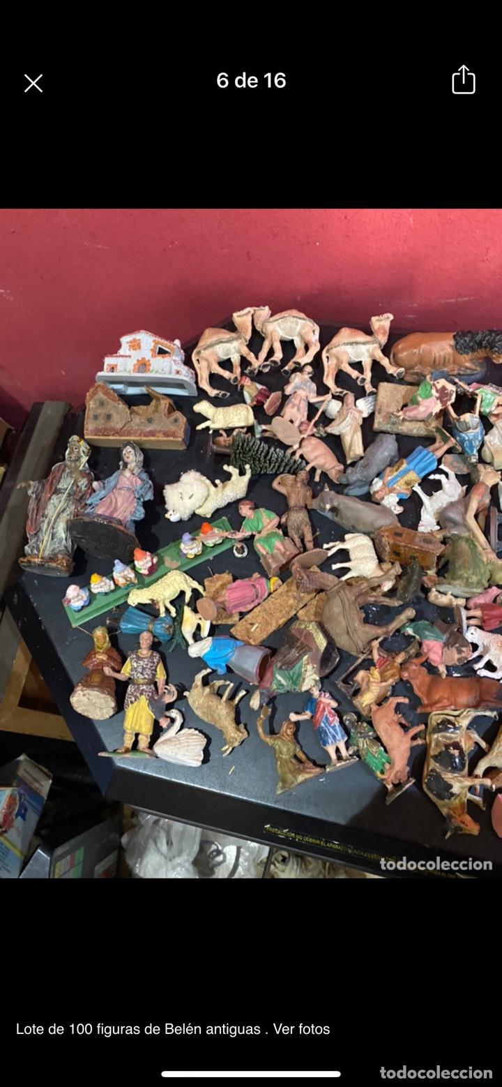 Antigüedades: Lote de 100 figuras de Belén antiguas . Ver fotos - Foto 6 - 255017835
