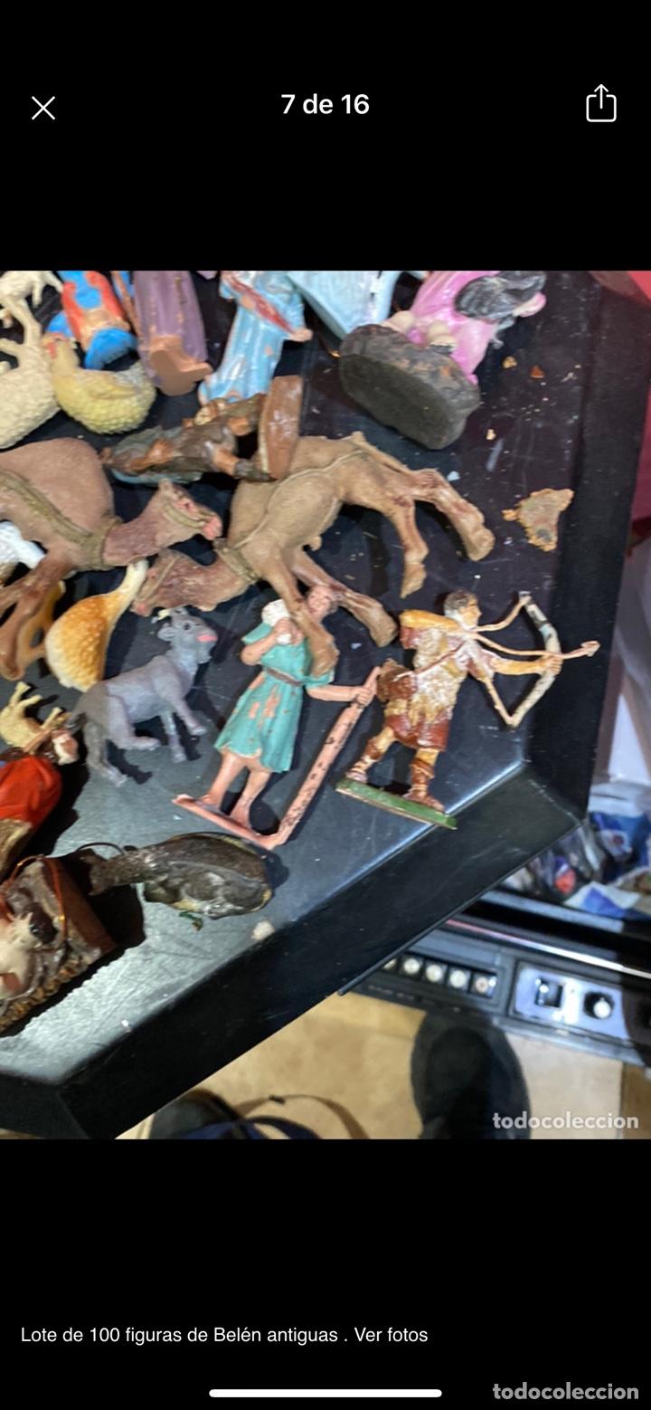 Antigüedades: Lote de 100 figuras de Belén antiguas . Ver fotos - Foto 7 - 255017835