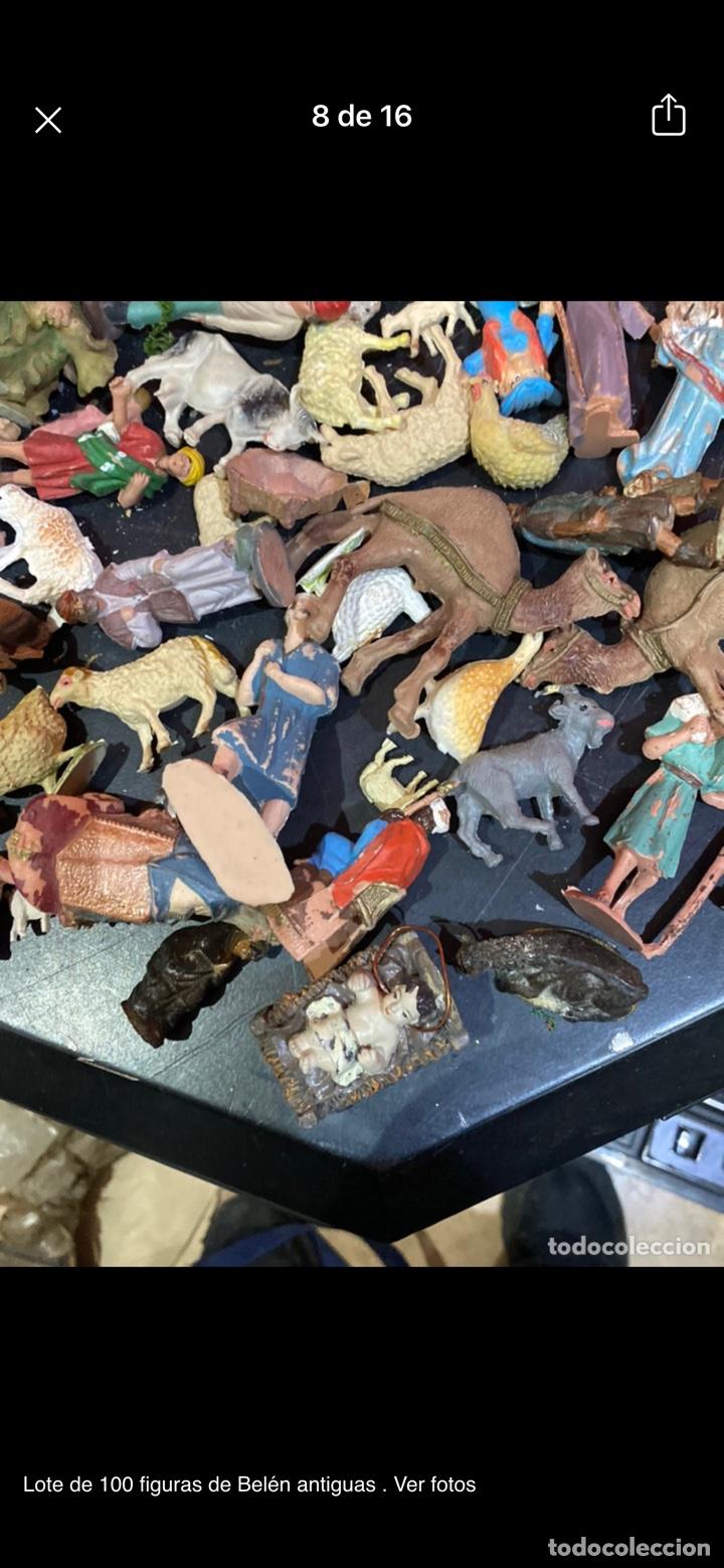 Antigüedades: Lote de 100 figuras de Belén antiguas . Ver fotos - Foto 8 - 255017835
