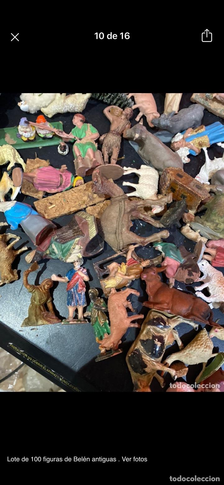 Antigüedades: Lote de 100 figuras de Belén antiguas . Ver fotos - Foto 10 - 255017835