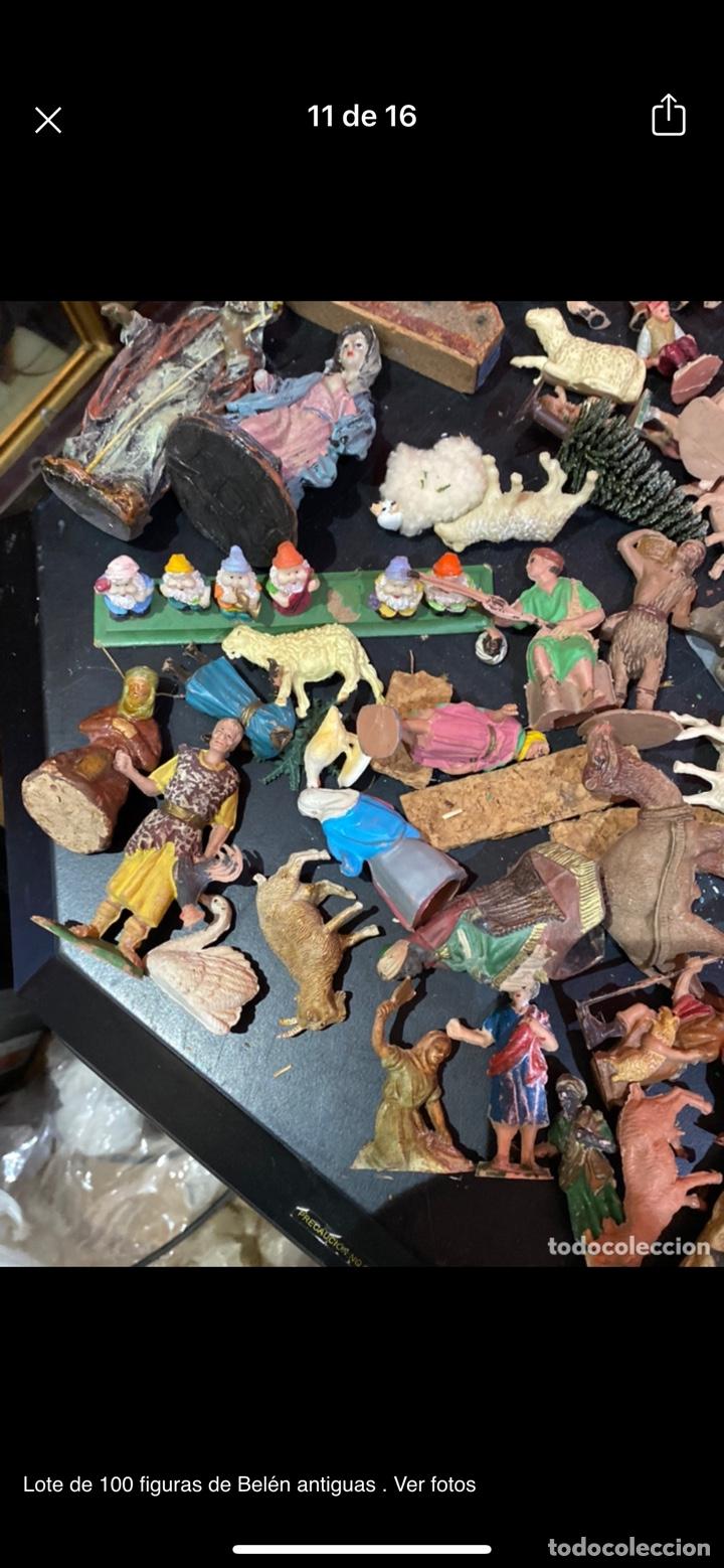 Antigüedades: Lote de 100 figuras de Belén antiguas . Ver fotos - Foto 11 - 255017835