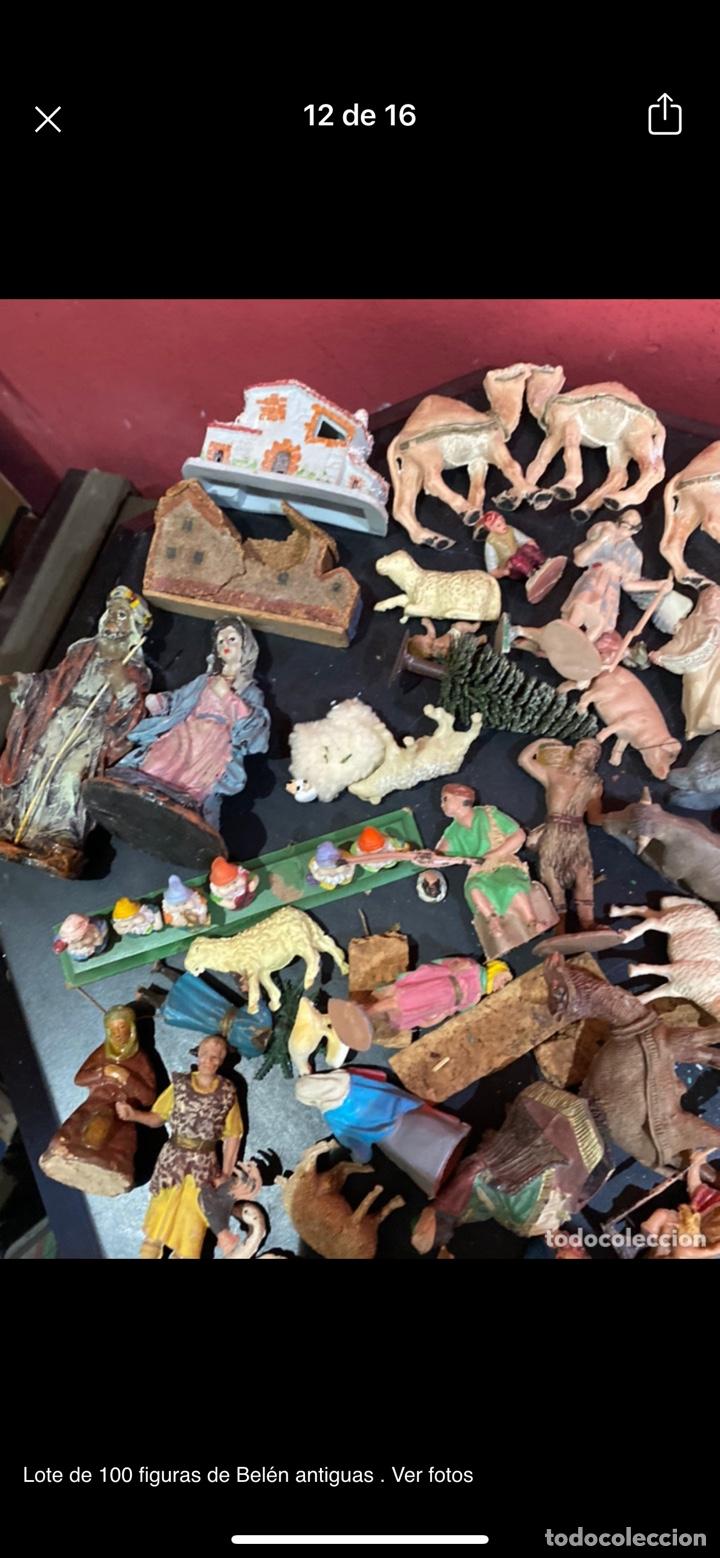 Antigüedades: Lote de 100 figuras de Belén antiguas . Ver fotos - Foto 12 - 255017835