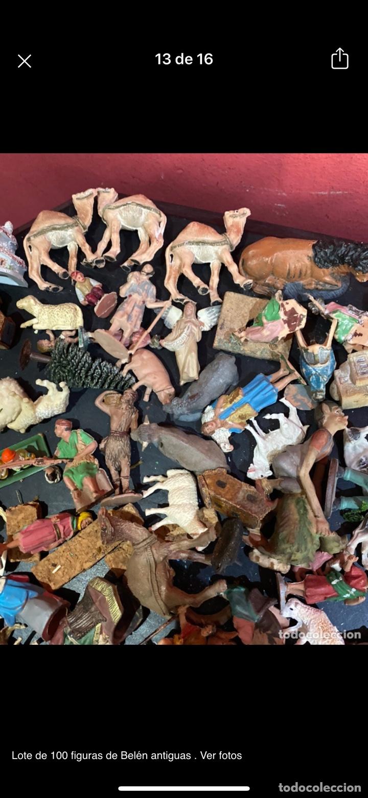 Antigüedades: Lote de 100 figuras de Belén antiguas . Ver fotos - Foto 13 - 255017835