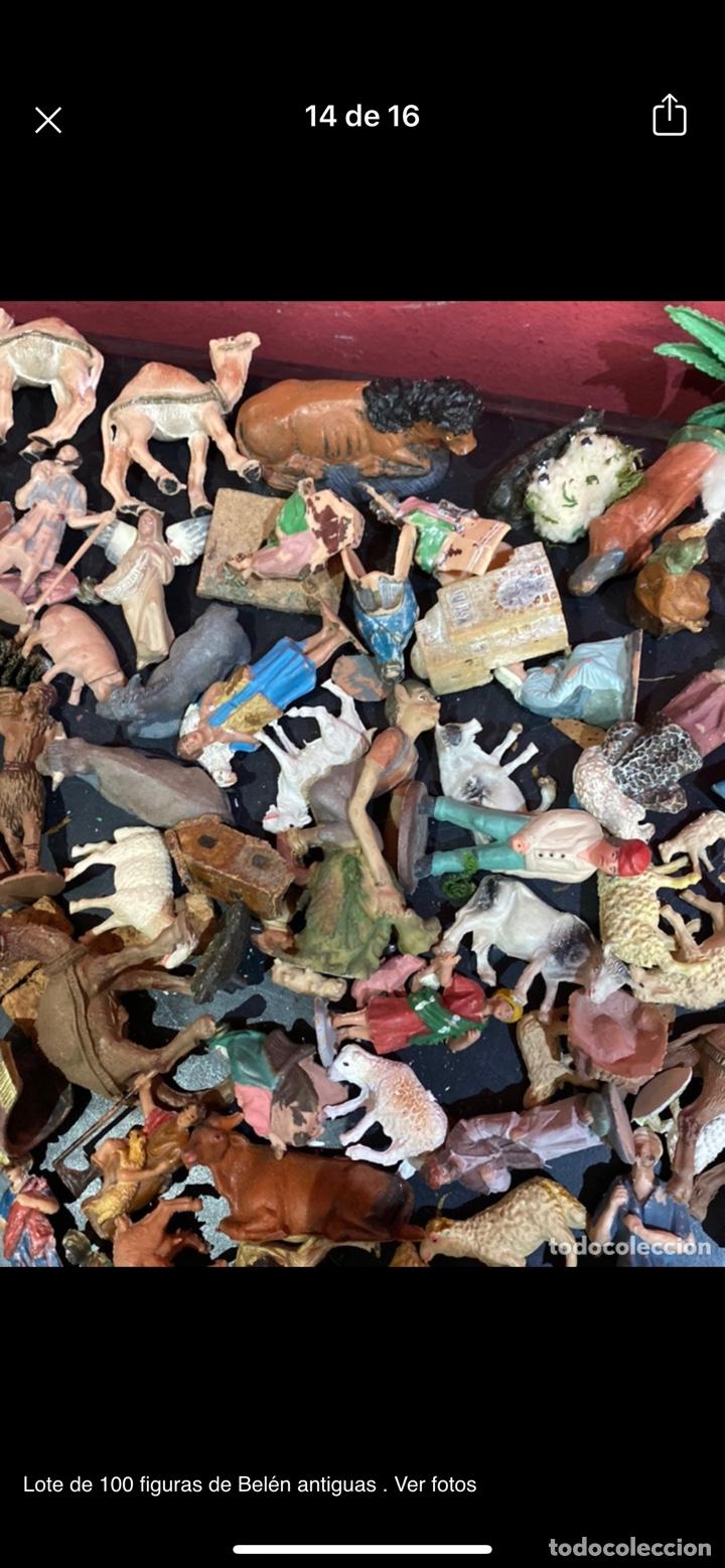 Antigüedades: Lote de 100 figuras de Belén antiguas . Ver fotos - Foto 14 - 255017835