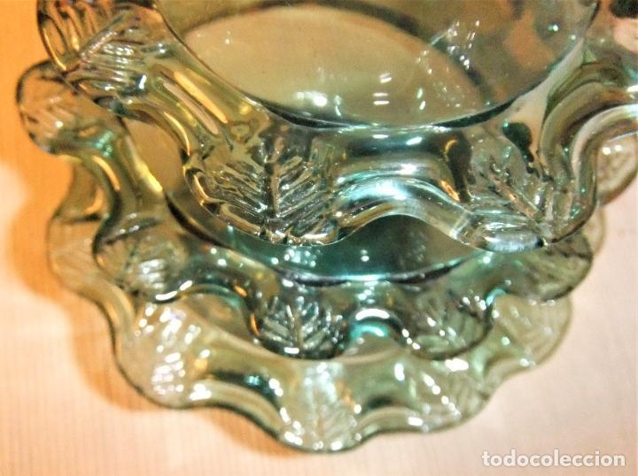 Antigüedades: ANTIGUA BOTELLA O JARRÓN DE CRISTAL SOPLADO PINZADO MALLORQUIN - Foto 9 - 255332640