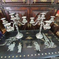 Antigüedades: PAREJA DE CANDELABROS DE METAL PLATEADO . 40X34 CM. Lote 255344485