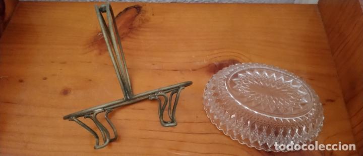 Antigüedades: PAREJA DE SALSERAS EN CRISTAL TALLADO Y METAL. 14 x 15 CMS. - Foto 6 - 255413460