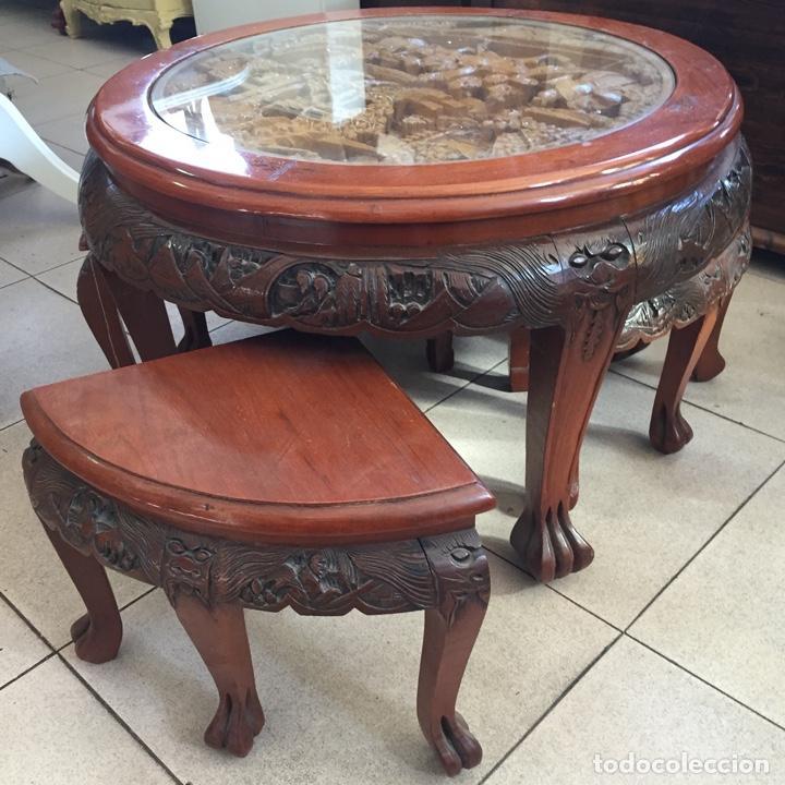Antigüedades: Mesa de te china con 4 taburetes - Años 70 - Artesanía Vintage, excelente trabajo de talla - Foto 6 - 255442270