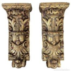 Antigüedades: ANTIGUA MÉNSULA, REPISA, PEDESTAL, COLUMNA DE ESTUCO ANTIGUO, DORADA. XIX. 34X15X7. Lote 254103060