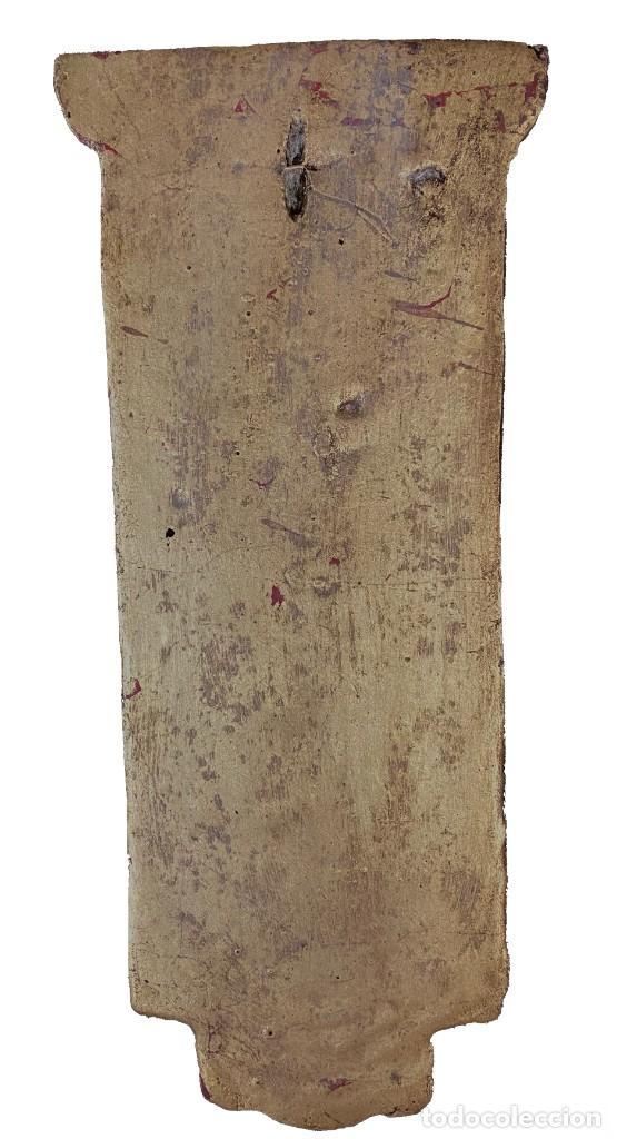 Antigüedades: Antigua ménsula, repisa, pedestal, columna de estuco antiguo, dorada. XIX. 34x15x7 - Foto 5 - 254103060