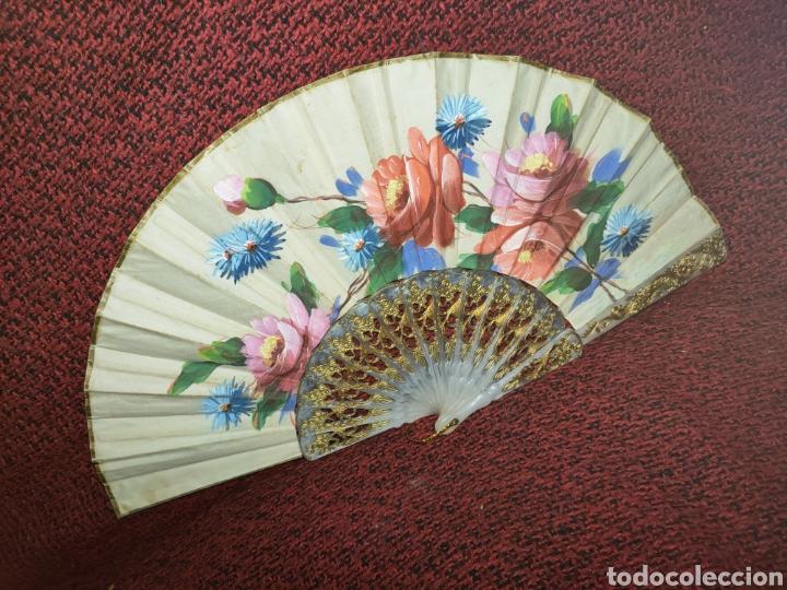 Antigüedades: ABANICO ANTIGUO PINTADO A MANO - Foto 3 - 255471285