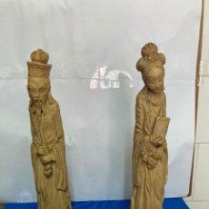 Antigüedades: PAREJA DE CHINOS EN PASTA DE MARFIL, ANTIGUOS. Lote 255475245