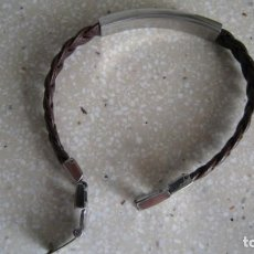 Antigüedades: PULSERA DE CUERO TRENZADA DE ARMANI LONGITUD TOTAL 18,5 CMTS. Lote 255493080