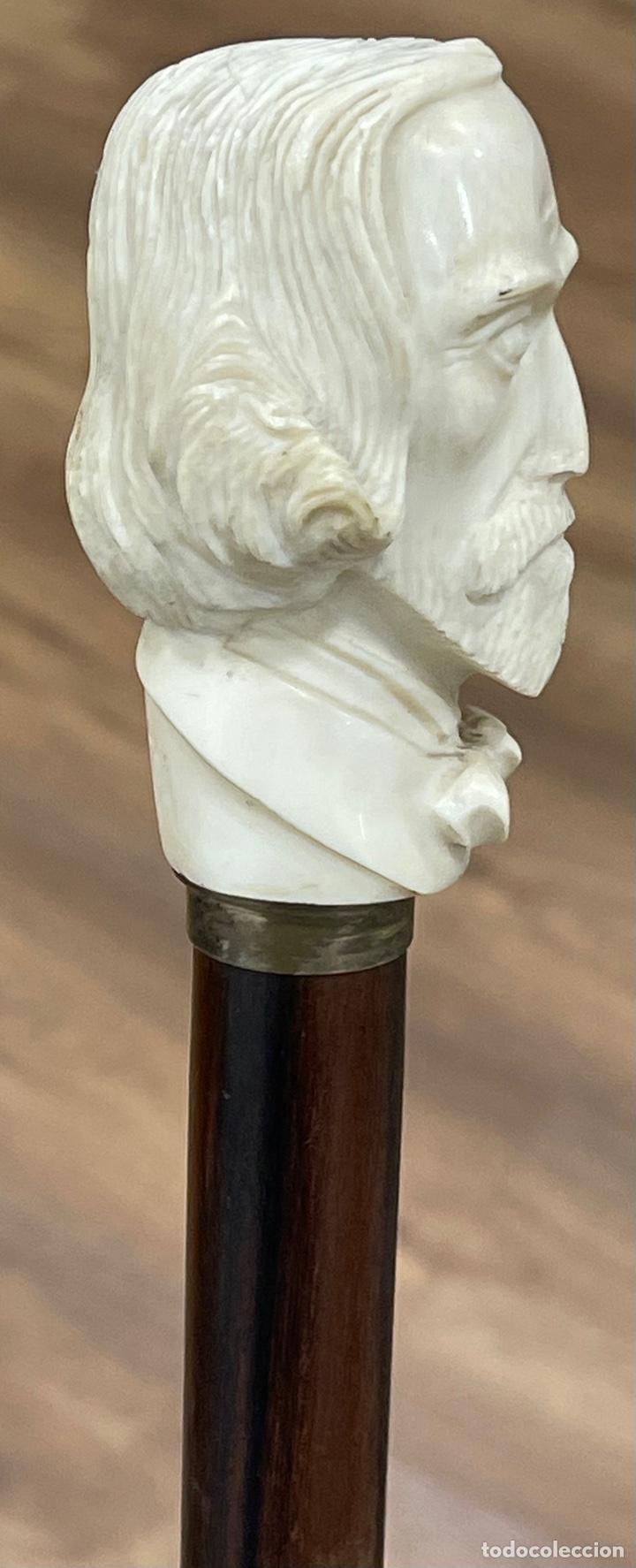 Antigüedades: Bonito bastón, con mango de marfil tallado, y vara en palosanto, o ébano de macassar. - Foto 6 - 255516500