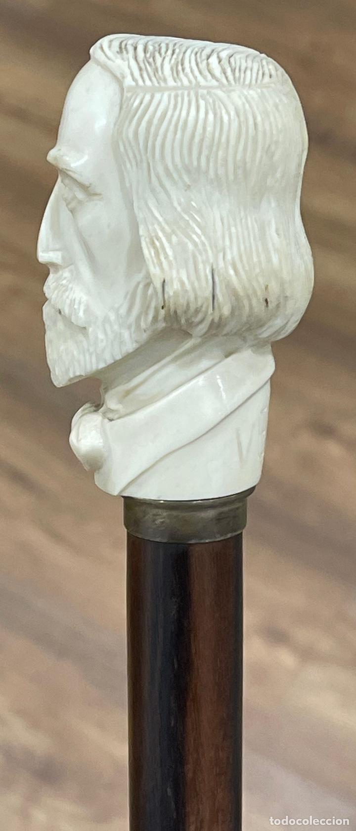Antigüedades: Bonito bastón, con mango de marfil tallado, y vara en palosanto, o ébano de macassar. - Foto 8 - 255516500