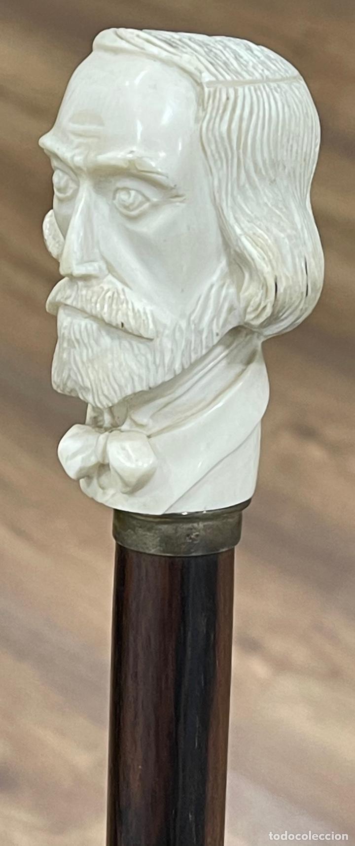 Antigüedades: Bonito bastón, con mango de marfil tallado, y vara en palosanto, o ébano de macassar. - Foto 9 - 255516500