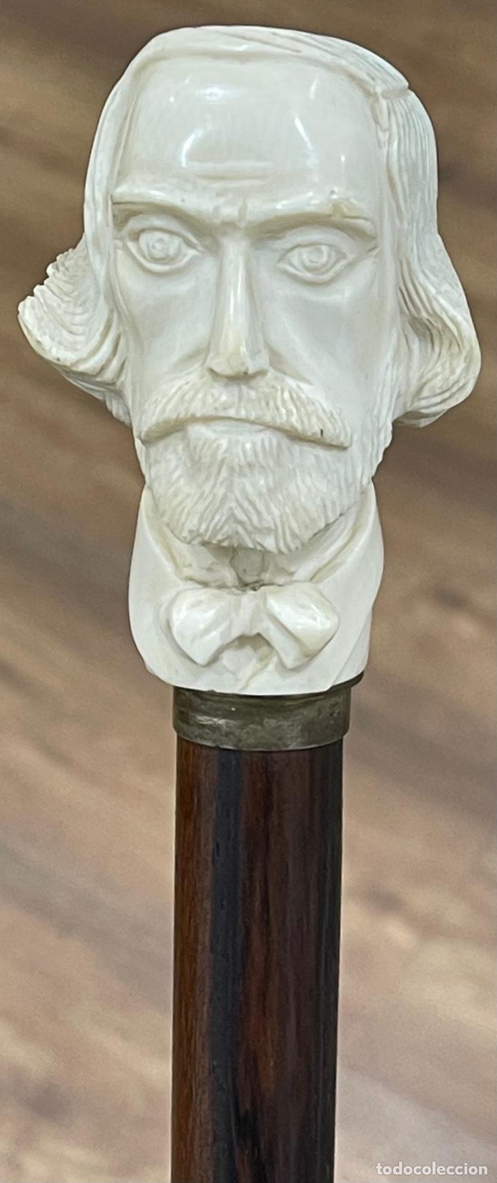 Antigüedades: Bonito bastón, con mango de marfil tallado, y vara en palosanto, o ébano de macassar. - Foto 10 - 255516500